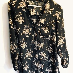 Sheer floral button down